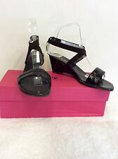 JAIME MASCARO BLACK PATENT LEATHER & BROWN STRAP SANDALS SIZE 6/39 COST £99.00