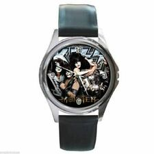 KISS PAUL STANLEY GENE SIMMONS MONSTER Round Silver Metal Watch Leather Band