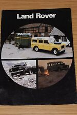Land Rover V8 Specification Sheet 1980
