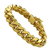 High Quality 14K Gold Close Link Cuban Chain Bracelet