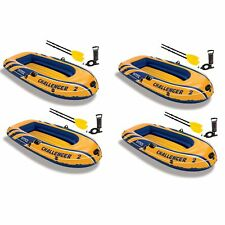 Intex Inflatable 2 Person Floating Boat Raft Set w/ Oars & Air Pump (4 Pack)