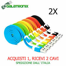 2X Cavo micro USB piatto noodle android Samsung HTC Sony Nokia Huawei PC cavetto
