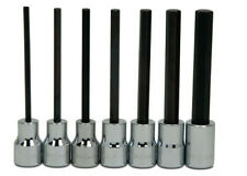 "8 Pieces, 1/8"" to 3/8"" Long Hex Bits Set , 3/8"" Drive Hi-Polished Chrome Sockets"