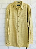 Orvis Long Sleeve  Men's Button Up Shirt Yellow Checked Plaid Size Large