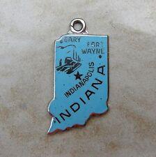 Wells Indiana Hoosier Enamel State Map Sterling Silver Bracelet Charm Vintage