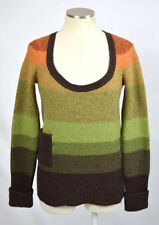 FREE PEOPLE Wool Earthy Striped Scoop Neck Sweater Jumper Winter Top Shirt Small