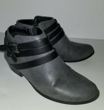 SODA gray Black Faux Leather Strappy buckle Ankle Boots Booties . 7.5 Vegan 7