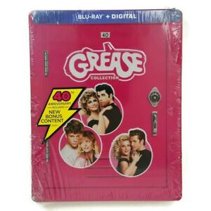 The Grease Collection 40th Anniversary (Blu-ray, 3 Disc, 2018) NEW Steelbook