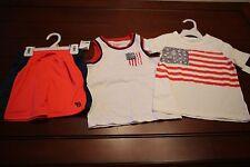 Toddler boy 3T OshKosh B'gosh lot tank top short sleeve shorts flag
