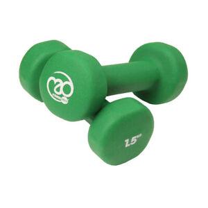 Fitness Mad Dumbbells Neoprene Covered 2 x 1.5kg - Green