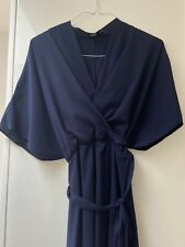 ASOS Curve Plus Navy Dress Kimono Wrap Style Flattering 20 Also Fit 22 Vintage