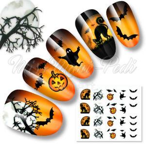 Nail Art Halloween Water Decals Transfers Stickers Moon Bats Cats Pumpkins K186