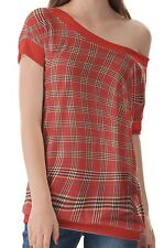 Red Plaid Women Clothing Top T-Shirts One Off Shoulder