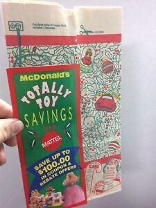 McDonalds Happy Meal Totally Toy Holiday Bag Vtg 1993 Barbie Hot Wheels Polly