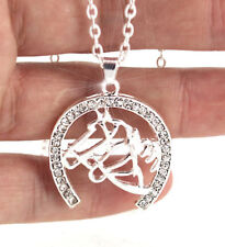 HORSE & WESTERN JEWELLERY JEWELRY SPARKLING HORSES & HORSESHOE NECKLACE SILVER d