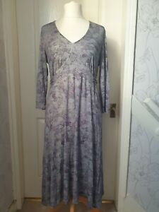 BRORA Size 14 Green & Grey Floral/Leaf Print Jersey Dress With Ties- Flattering