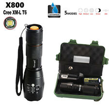 5000LM Zoomable XML T6 LED Tactical Police Flashlight+18650 Battery+Charger+Case