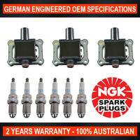 6x Genuine NGK Spark Plugs & 3x Ignition Coils for Mercedes Benz SL280 SL320