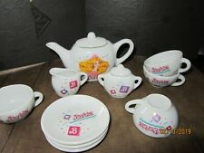 12 porcelain Barbie Doll childrens tea set pieces Dollhouse Toys Vintage dishes