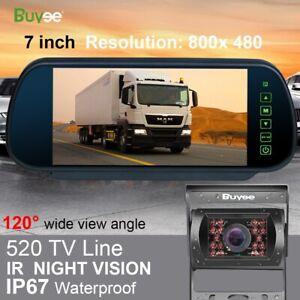 """12V/24V Car Reversing Camera + 7"""" LCD Mirror Monitor Truck Bus Van Rear View Kit"""