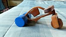 Wooden 3 Wheel Toy Bike 1970's Brown with blue wheels