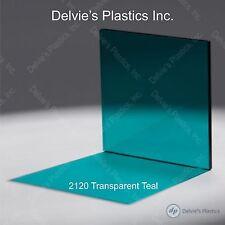 "5 Sheets 1/8""  2120 Transparent Teal Cell Cast Acrylic Plexiglass  12"" x 24"""