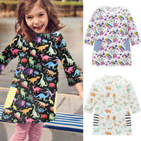 Toddler Baby Girls Long Sleeve Cartoon Dinosaur Print Dress Kids Outfits Clothes