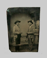 Antique Vtg 1870s Tintype Photo Of Two Men Stuffed Pockets Gamblers? Poker Chips