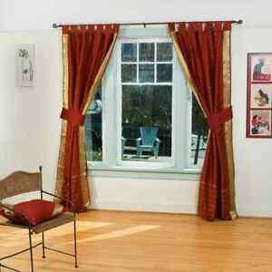 Indo Rust Tab Top Sari Sheer Curtain (43 in. x 84 in.) with matching tieback