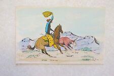 c363 Vintage Postcard Cowboy roping a steer 1939 Joe Rodriguez artist signed