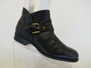 Naturalizer Black Leather Zip Buckle Ankle Fashion Boots Bootie Size 8.5 M
