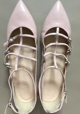 J CREW $168 CAGED FLATS IN GLOSSY LEATHER 8.5 pale bloom Shoes f5530 CURRENT!