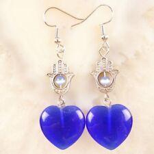 One Pair 20mm Royal Blue Cat Eye Heart&Tibetan Silver Head Earrings JC514