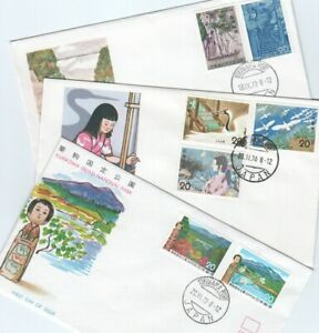 Japan 1982-84 3x First Day Covers National Parks Folklore Mi 1153-4, 87-88 99-01