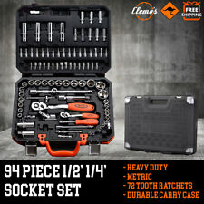 "94pcs Socket Set 1/2"" 1/4"" Metric Deep Drive Ratchets Screwdriver Bits Tool Kit"