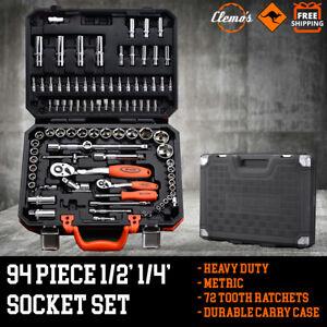 94pcs Socket Set 1/2 1/4 Metric Drive Ratchet Screwdriver Torx Bits Tool Wrench