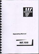 "Welger ""RP 150"" Round Baler Operator Instruction Manual Book"