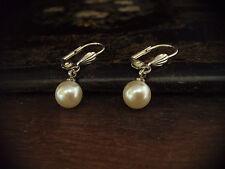 Vintage Style Pearl Drop Silver Hook Pierced Earrings Free Postage