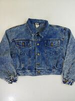 Kettini Vintage Denim Jacket Women's jean medium crop button acid wash