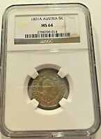 1821 A 5 K Kreuzer Austria Silver Coin graded by NGC MS 64 - High grade
