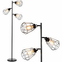 Modern 3-Light Tree Floor Lamp Adjustable Cage-shade w/Foot Switch Office Decor
