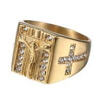 Modeschmuck Gold Ringe für Frauen Runde Kristall Jesus Ringe Männer Kreuz B1J8