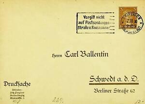 GERMANY 1930 3pf POSTAL CARD FROM LEIPZIG TO SCHWEDT BERLIN