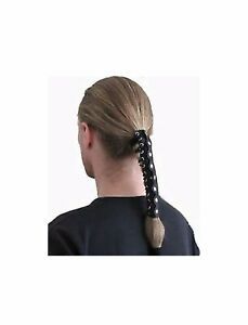 LSM Women's Black Solid Leather Ponytail Wrap Hair Glove Motorcycle Hair Holder