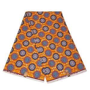 "African fabric ORANGE BLUE wax fabric ""CIRCLES"" Ankara Kitenge wax print cloth"