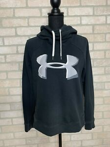 Under Armour Hooded Sweatshirt Women's Medium Hoodie Black Big Logo UA High Neck