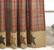 PRIMITIVE BURLAP STAR SHOWER CURTAIN : STRATTON CABIN RUSTIC RED TAN BROWN PLAID