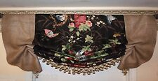 Custom Made Large French Country Vintage Birds+Flowers Fabric And Burlap Valance