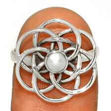 Mandala - Fresh Water Pearl 925 Sterling Silver Ring Jewelry s.6.5 BR25146