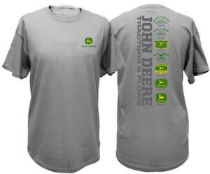 NEW Charcoal Gray T-Shirt John Deere Logo Through the Years  Sizes  M L XL 2X